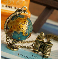 Collar Mundo Regalo Para Viajeros Mochileros Globo Terraqueo