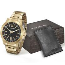Kit Relógio Mondaine Masculino C/ Carteira 94933gpmkde2k1