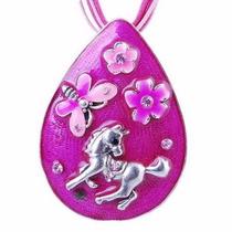 Precioso Colgante Caballo Pony Flores Mariposa, Color Rosa