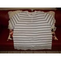 Camiseta Polo Talla 2xl Big, Blanca A Rayas, Talla Extra