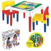 Mesinha Didática Infantil Escolar Com 2 Cadeiras Bell Toy
