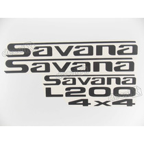 Kit Emblema Adesivo Mitsubishi L200 Savana 4x4 Decalx