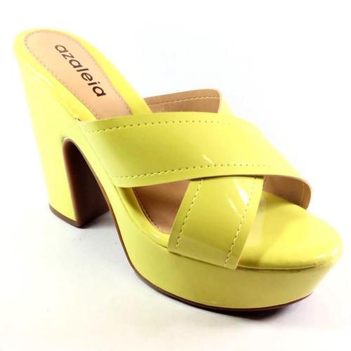 ed92765b7 Tamanco Azaleia Verniz Verde Lima Feminino - R$ 119,90 em Mercado Livre
