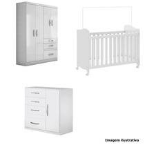 Quarto Completo Bebê Berço, Comoda E Guarda Roupa Branco