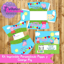 Kit Imprimible Personalizado Peppa Y George Pig