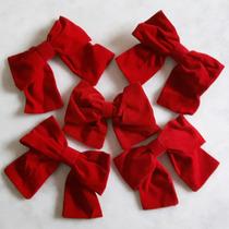 Kit 5 Laços Em Veludo Vermelho 18cm