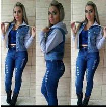Jaqueta Jeans Com Moleton Cinza Claro