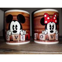 Juego De Tazas Pareja Mr. Mrs. Mickey & Minnie Mouse.