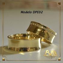 Alianças Ouro 12k 7mm Com Pedras-frete Grát- 12xs/jur Dpe02