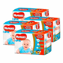 4 Pañales Huggies Natural Care P/ellos Superpack M 68u