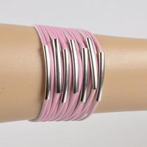 Pulsera De Simil Cuero Rosa Con Metal