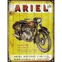 Cartel De Chapa Publicidad Antigua Moto Ariel No Es Vinilo