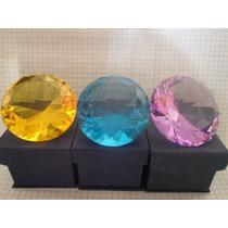 Figura Cristal Grande Diamante 8 Cm Azul Turquesa