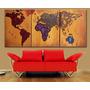 Cuadros Triptico Decorativo Mapamundi Mapa Mundo Planisferio