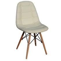 Cadeira Dkr Charles Eames Wood Couro Estofada Off White