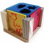Cubo Com Formas De Encaixe Em Madeira Educativo Infantil