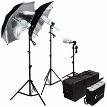 Kit Iluminacion Sombrilla Plateada Para Estudio Fotografico