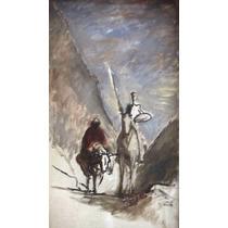Lienzo Tela Don Quijote Y Sancho Por Honoré Daumier 87x50 Cm