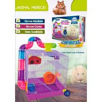 Casa/gaiola Hamster 3 Andares Tubo Luxo Jel Plast