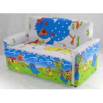 Mini Sofa Infantil 2 Lugares Desenho E Courino Liso