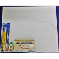 Kit De Pintura Em Tela;1-tela +1-palheta+8- Tintas+6-piceis+