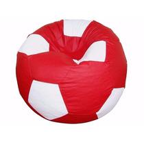 Puff Pufe Puf Bola Futebol 80cm Courino Quarto Sala Vermelho