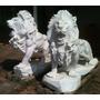 Par De Leões Escultura Em Mármore Carrara Italiano