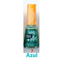 Pintura De Uñas Valmy Nail Art Azul Escarchado
