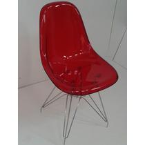Cadeira Acrílica Charles Eames Dkr Torre Aço Inox.