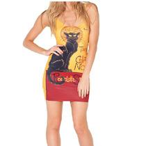 Vestido Lycra Lycra Casual Playera Chat Noir