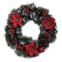 Enfeite De Natal Guirlanda Nevada Flores 40cm Decoração