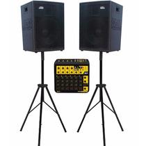 Par Caixas Acústicas Ativa Passiva 1000w 1x12 Jbl + Mesa 10