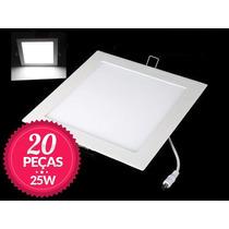 Kit 20 Painel Plafon Led Quadrado Embutir Ultra Slim 25w