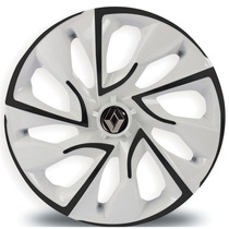 Jogo Calota Aro 15 Ds4 Black White Clio Sandero Logan Symbol