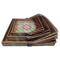Trio De Cestas Cestarias Bambu Marrom Decoração - Arte Bali