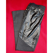 Preciosa Calza Pantalon Negra Combinada Con Tachas.