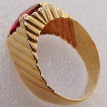 Joia Antigo Anel Masculino Ouro 18 K Maciço Pedra Vermelha