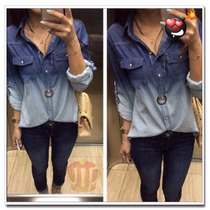 Camisa Blusa Jeans Degrade Feminina - Pronta Entrega