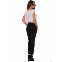 Pantalón Jeans De Mujer Chupin Tiro Alto Color Negro