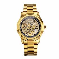Relógio De Luxo Winner Dourado, Importado Mecânico De Corda.