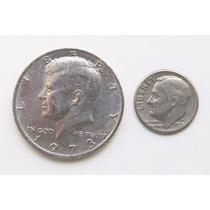 Moedas U S Conjunto 2 -half Dollar1973 -one Dime1973