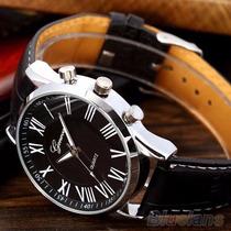 Relógio Importado Geneva Em Couro Masculino Luxo Barato