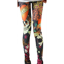 Calça Legging Caveira Skull Tatoo Rock Leg
