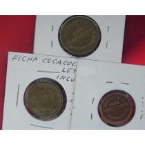3 Fichas De Refresco Coca Cola Y Pepsi Escasas Cobre
