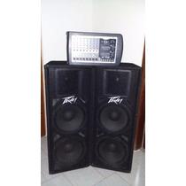 Sonido Profesional Cornetas Con Consola Amplificada Peavey