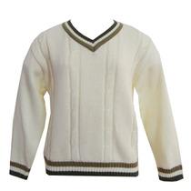 Blusa Tricot Lã Gola V Com Tranças Menino Tamanhos 14 E 16