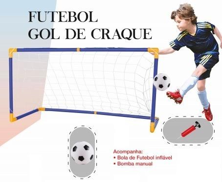 2x Gol De Craque Mini Trave Futebol Infantil Bola Rede Bomba - R ... 1822b4acf509b