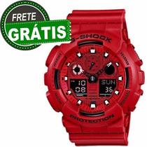 Relógio Masculino Casio G-shock Ga-100c-4a Vermelho Original