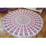 Manta Mandala Blanca De India Con Pompones Playa 190 Cm