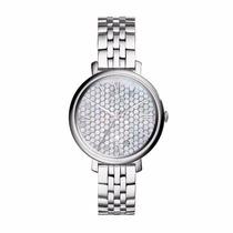 Reloj Fossil Mod. Es3803 Plateado Y Madre Perla Para Dama